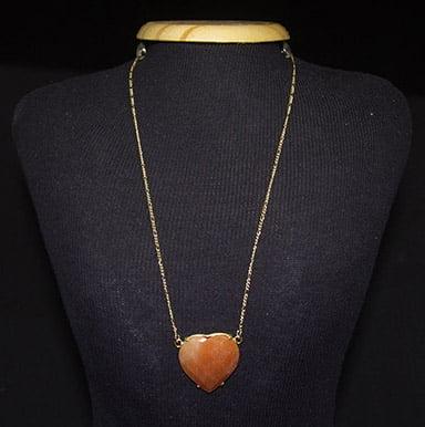 Colar de Pedra Calcita Laranja Coração - Helena Cristais