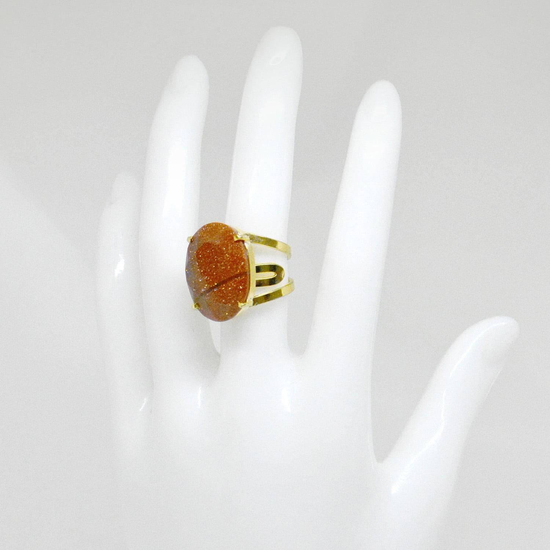 Anel Pedra do Sol Oval Regulável Dourado Facetado 4236