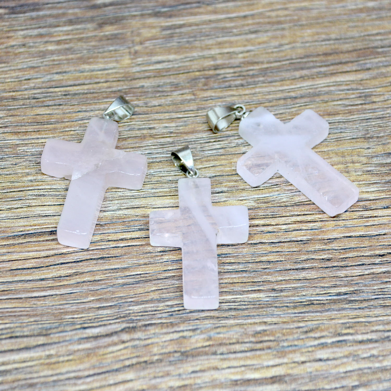 Pingente Crucifixo Quartzo Rosa