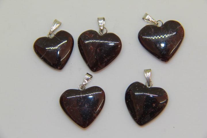 Pingente Coração de Pedra Granada - Helena Cristais