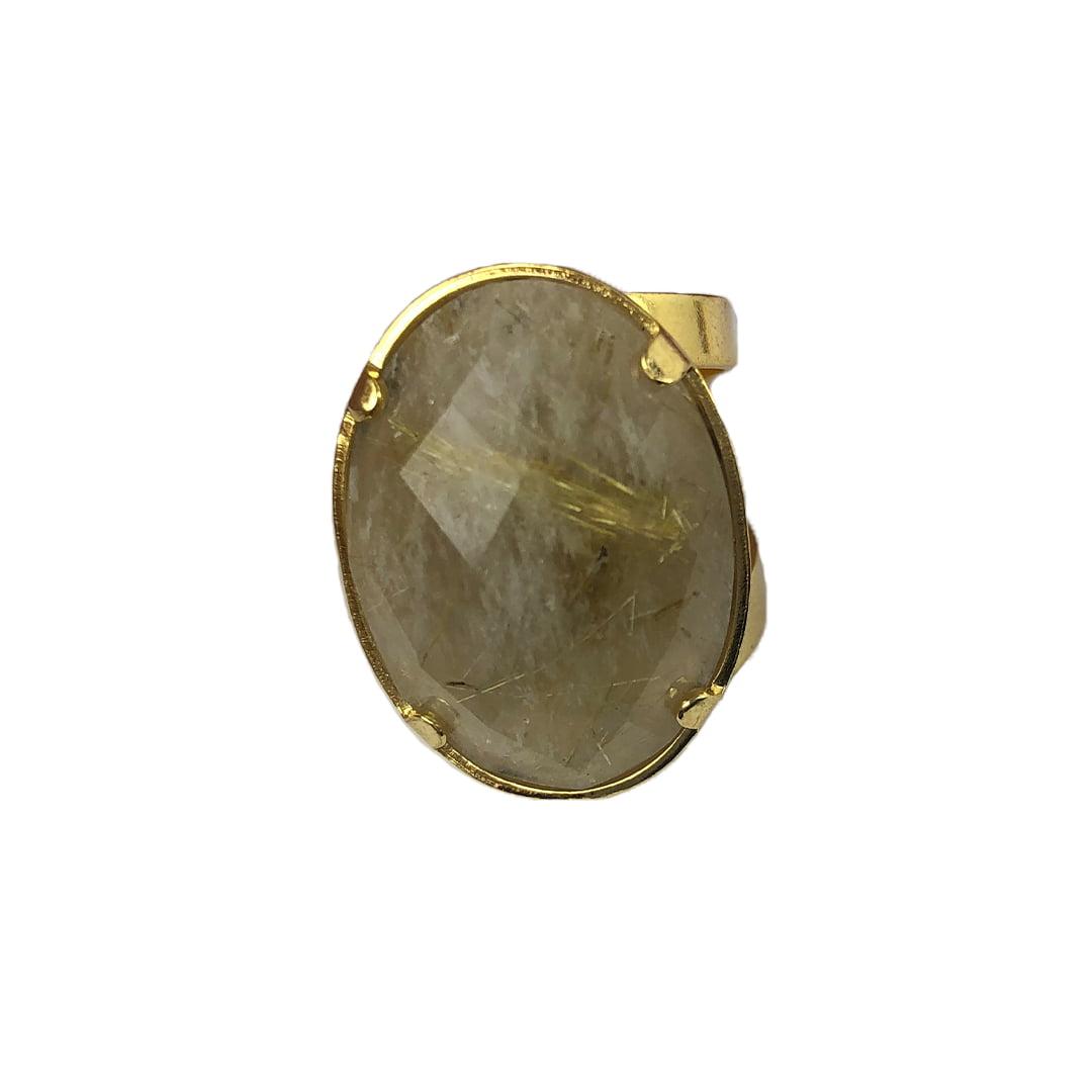 Anel Quartzo Rutilado Lapidado Banhado A Ouro 8635