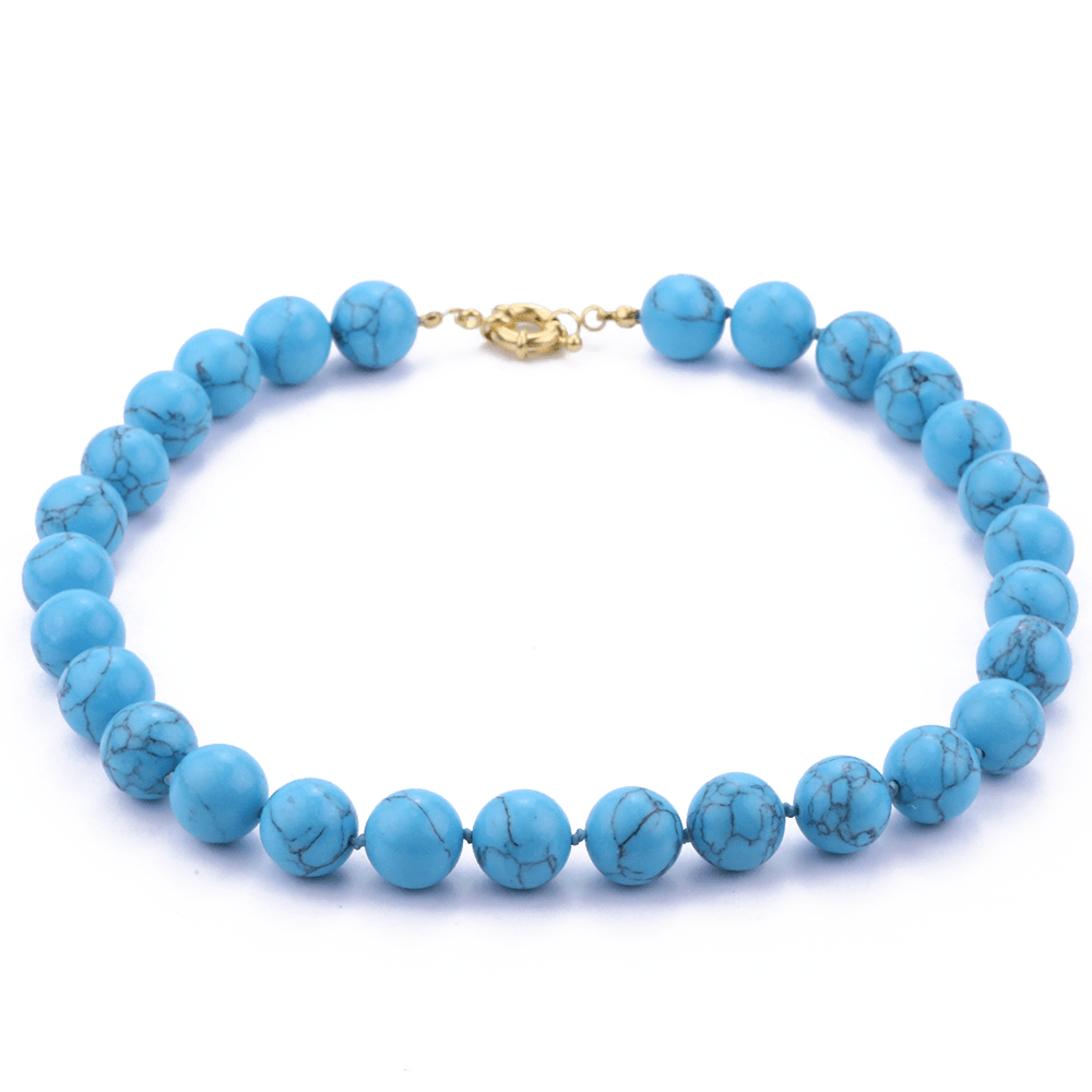 Colar de Esferas Howlita Azul G