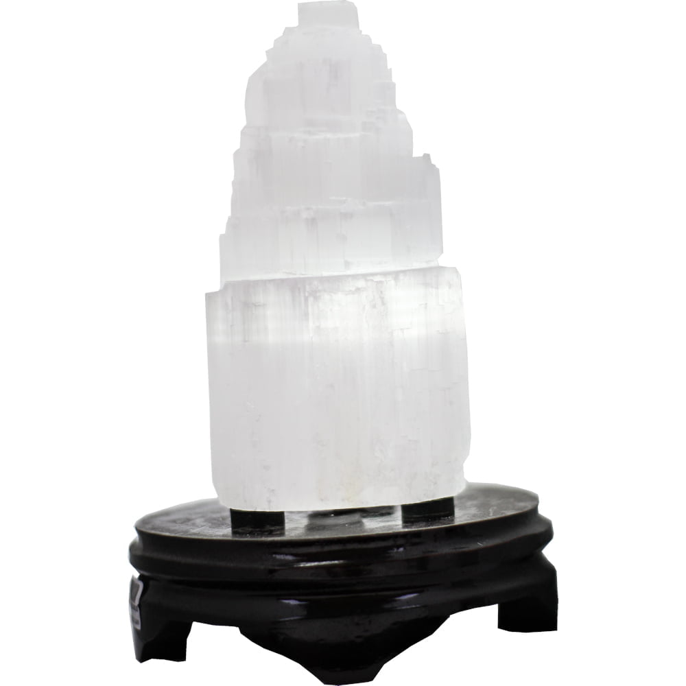 Luminária de Selenita Branca Torre  7267