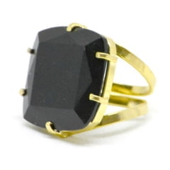 Anel Obsidiana Negra Regulável Dourado Facetado – 6411