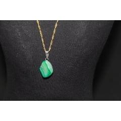 Pingente de Pedra Ágata Verde