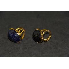 Anel de Pedra Estrela Oval Regulável-4077