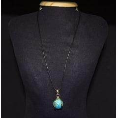 Colar Esfera de Pedra Howlita Azul