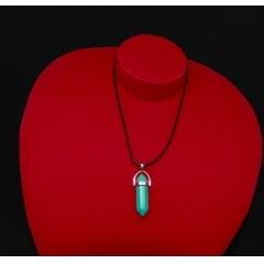Colar de Pedra Howlita Azul Biterminado