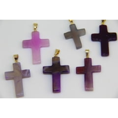Pingente de Pedra Ágata Roxa Crucifixo