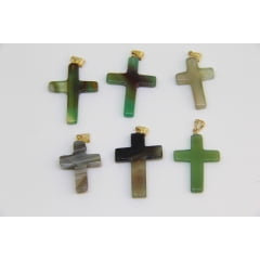 Pingente de Pedra Ágata Verde Crucifixo - Helena Cristais