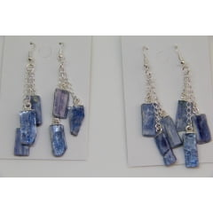 Brinco de Pedra Cianita Azul - Helena Cristais