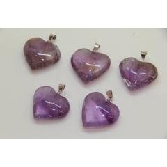 Pingente Coração de Pedra Ametista | Helena Cristais