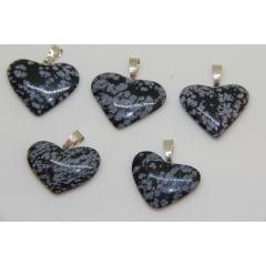 Pingente Coração de Pedra Obsidiana Floco de Neve