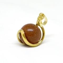 Pingente Pedra do Sol Esfera Dourado 5966