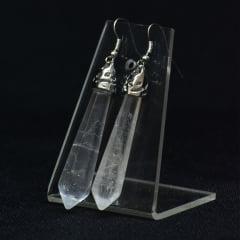 Brinco de Pedra Quartzo Cristal