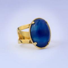 Anel ágata azul banhado a ouro 10706