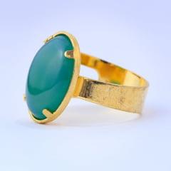 Anel Ágata verde banhada a ouro 10712