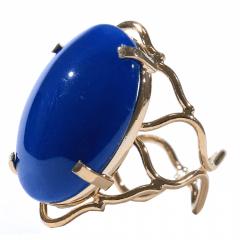 Anel de Ágata Azul Dourado Regulável