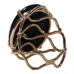 Anel de Obsidiana Negra Dourado Regulável