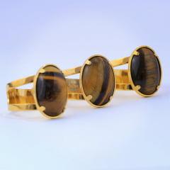 Anel de Olho de Tigre Oval M Banhado a Ouro  8498