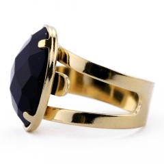 Anel de Onix Preto Banhado a Ouro