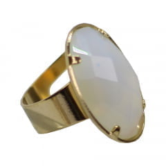 Anel de Opalina Oval P Banhado a Ouro 10786