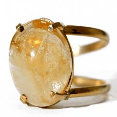 Anel de Pedra Citrino Dourado Regulável