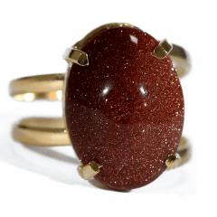 Anel de Pedra do Sol Dourado Regulável