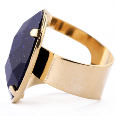 Anel de Pedra Estrela Azul Banhado a Ouro