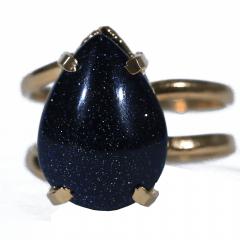 Anel de Pedra Estrela Dourado Regulável