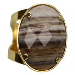 Anel de Pedra Madeira Petrificada Facetado Banhado a Ouro Regulável