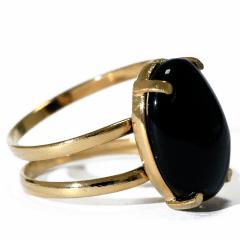 Anel de Pedra Obsidiana Negra Dourado Regulável