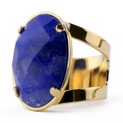 Anel de Quartzo Azul Banhado a Ouro