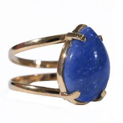 Anel de Quartzo Azul Dourado Regulável