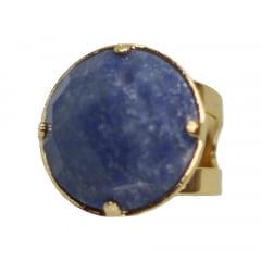 Anel de Quartzo Azul Banhado A Ouro Facetado Regulável