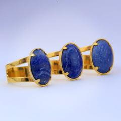 Anel Quartzo azul banhado a ouro 10715