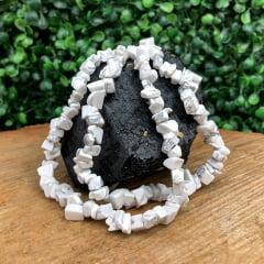 Colar de Pedra Howlita Branca Longo