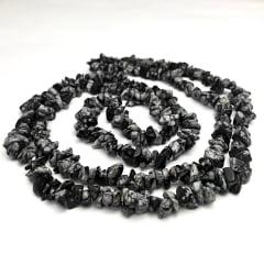 Colar de Pedra Obsidiana Floco de Neve Longo