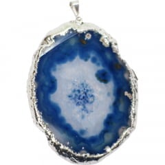 Pingente de Chapa Ágata Azul Prata