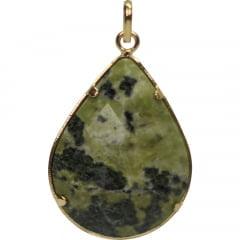 Pingente de Pedra Jade Nefrita Dourado Facetado