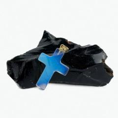 Pingente de Pedra Opalina Crucifixo - Helena Cristais