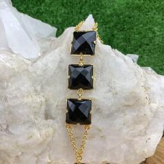 Pulseira Obsidiana Negra Dourada Regulável Facetada