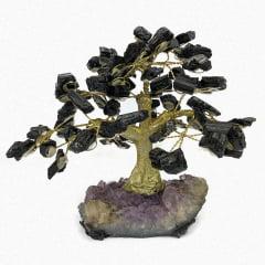 Árvore Turmalina Negra Bruta na Base de Ametista 8770