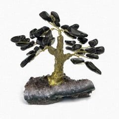 Árvore Turmalina Negra Rolada na Base de Ametista