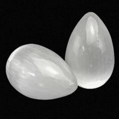 Ovo de Pedra Selenita Branca