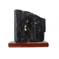Pedra Turmalina Negra Bruta com Base 381g