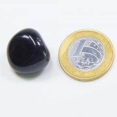 Pedra Obsidiana Preta Rolada 1x2cm