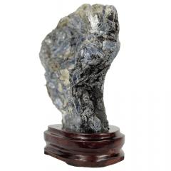 Pedra Cianita Azul Bruta na Base 08
