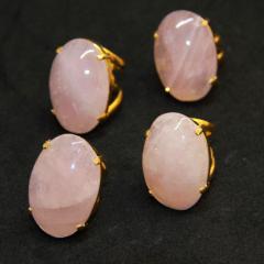Anel de Pedra Quartzo Rosa Regulável - Helena Cristais