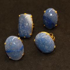 Anel de Pedra Quartzo Azul Regulável